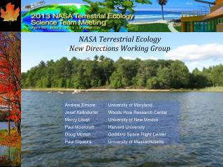 NASA Terrestrial Ecology New Directions Working Group