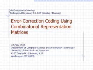 Error-Correction Coding Using Combinatorial Representation Matrices