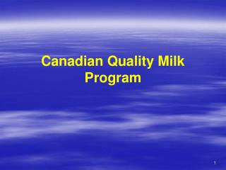 Canadian Quality Milk Program