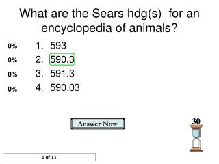 What are the Sears hdg(s)  for an encyclopedia of animals?