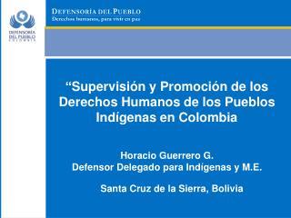 """"""" Supervisión y Promoción de los Derechos Humanos de los Pueblos Indígenas en Colombia"""