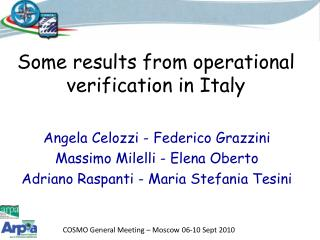 Some results from operational verification in Italy