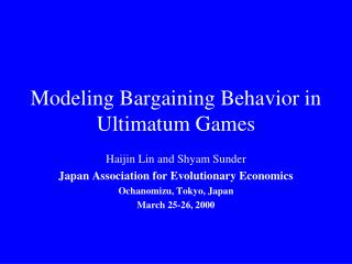Modeling Bargaining Behavior in Ultimatum Games