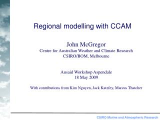 Regional modelling with CCAM