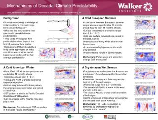 Mechanisms of Decadal Climate Predictability