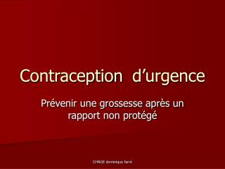 Contraceptiond'urgence