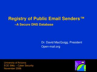 Registry of Public Email Senders ™ –A Secure DNS Database