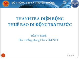 Trần Võ Hạnh Phó trưởng phòng TTra VT&CNTT