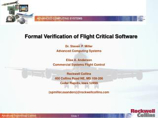 Formal Verification of Flight Critical Software