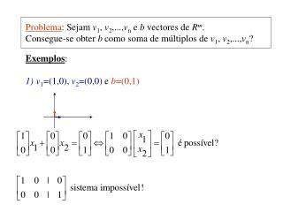Problema : Sejam  v 1 ,  v 2 ,..., v n  e  b  vectores de  R m .