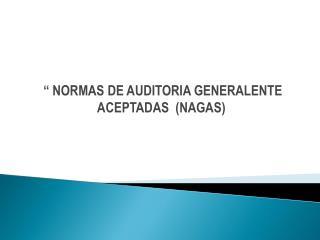 """"""" NORMAS DE AUDITORIA GENERALENTE    ACEPTADAS  (NAGAS)"""