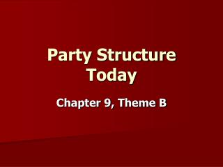 Party Structure  Today