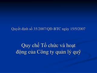 Quyết định số 35/2007/QĐ-BTC ngày 15/5/2007
