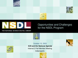 Opportunities and Challenges for the NSDL Program