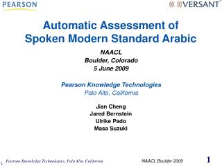 Automatic Assessment of Spoken Modern Standard Arabic