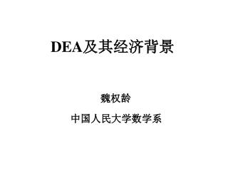 DEA 及其经济背景