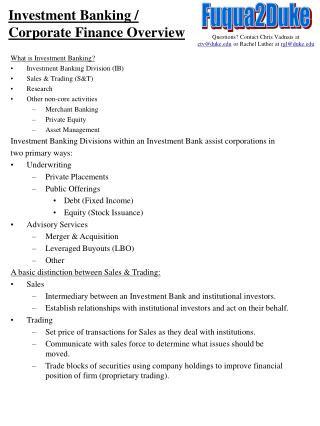 Investment Banking /  Corporate Finance Overview