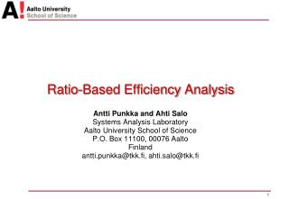 Ratio-Based Efficiency Analysis