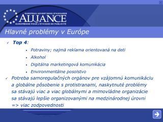 Hlavné problémy v Európe