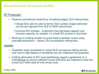 Billing Virtual DLE Conveyance and IECs