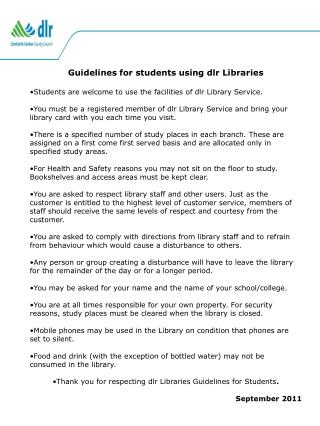 Guidelines for students using dlr Libraries