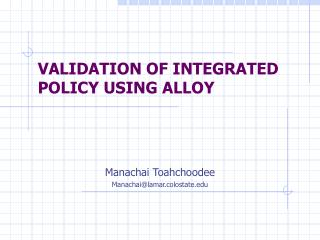 VALIDATION OF INTEGRATED POLICY USING  ALLOY