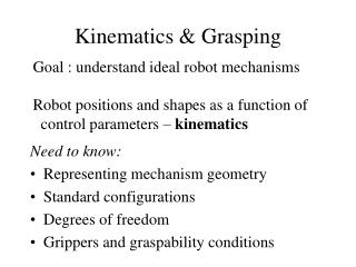 Kinematics & Grasping
