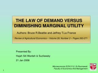 THE LAW OF DEMAND VERSUS DIMINISHING MARGINAL UTILITY