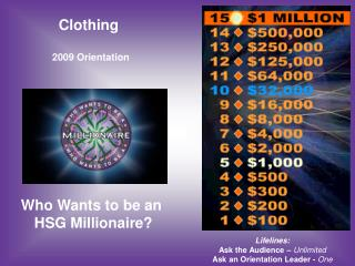 Clothing  2009 Orientation