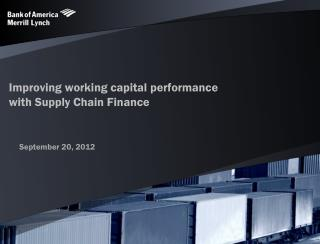 Improving working capital performance with Supply Chain Finance