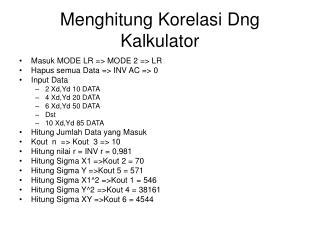 Menghitung Korelasi Dng Kalkulator