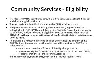 Community Services - Eligibility