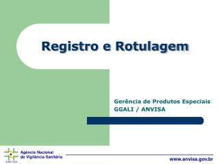 Registro e Rotulagem