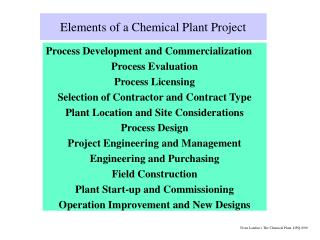 Elements of a Chemical Plant Project