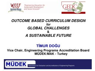 OUTCOME BASED CURRICULUM DESIGN  for GLOBAL CHALLENGES  & A SUSTAINABLE FUTURE TİMUR DOĞU