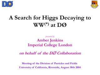 A Search for Higgs Decaying to WW (*) at D�