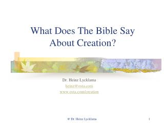 What Does The Bible Say About Creation