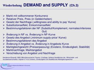 Wiederholung DEMAND and SUPPLY   (Ch.3)	   Markt mit vollkommener Konkurrenz