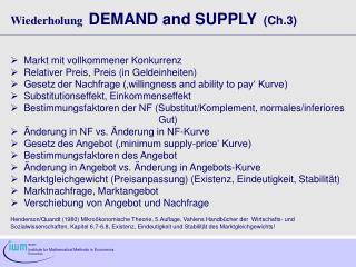 Wiederholung DEMAND and SUPPLY   (Ch.3)   Markt mit vollkommener Konkurrenz