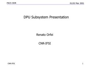 DPU Subsystem Presentation