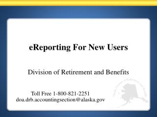 eReporting For New Users