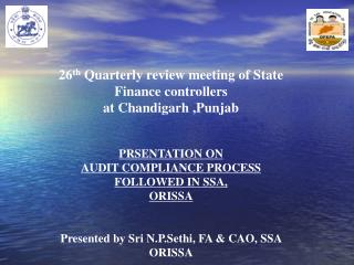 26 th  Quarterly review meeting of State  Finance controllers  at Chandigarh ,Punjab