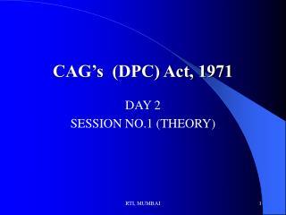 CAG's  (DPC) Act, 1971