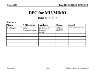 DPC for MU-MIMO