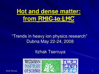 """Trends in heavy ion physics research"" Dubna  May 22-24, 2008"