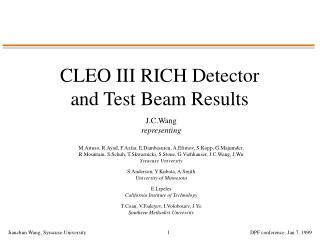 CLEO III RICH Detector and Test Beam Results