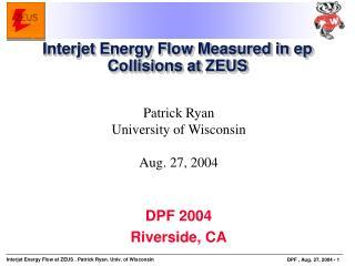 Interjet Energy Flow Measured in ep Collisions at ZEUS
