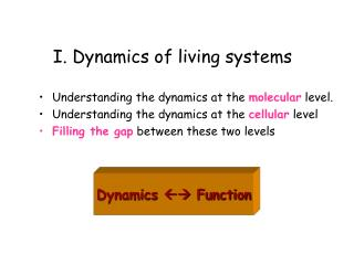 I. Dynamics of living systems