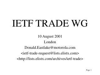 IETF TRADE WG