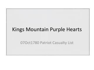 Kings Mountain Purple Hearts
